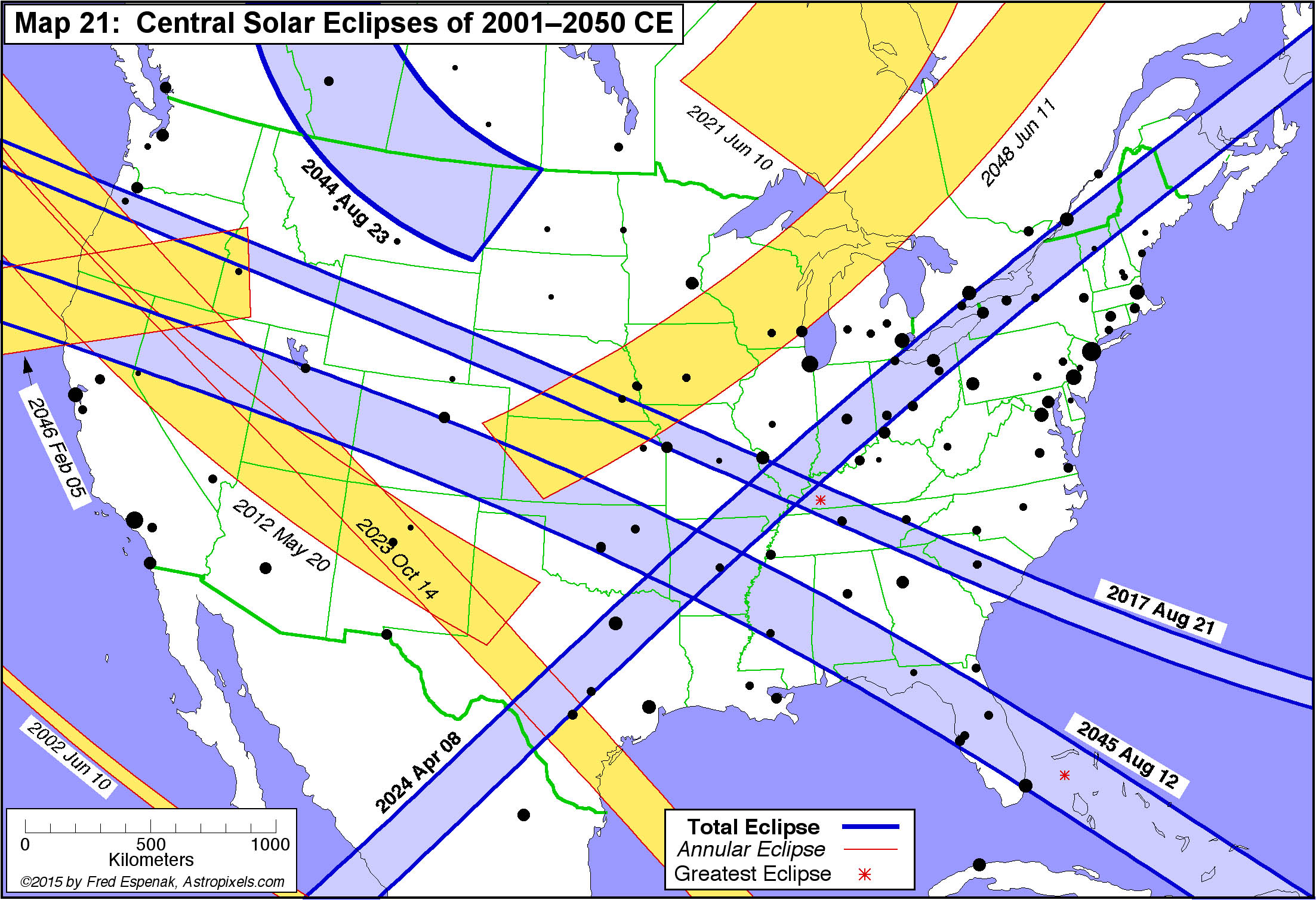 Map Of Central Eclipses From 2001 To 2050 Click To Enlarge